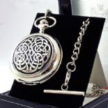 Pocket Watch, Never-Ending Knot design, Skeleton Mechanical, PERSONALISED ref NEPWS